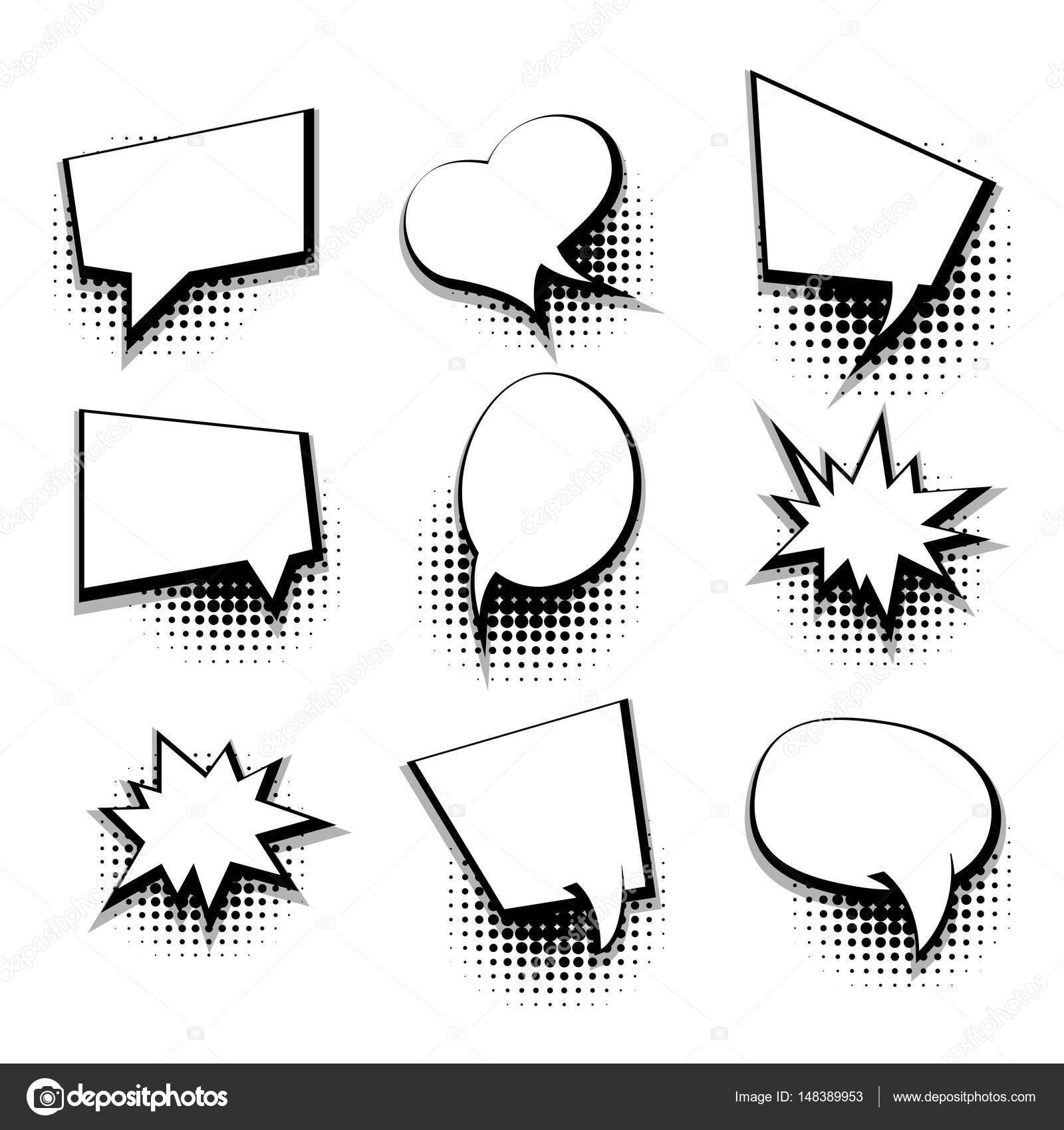 Collection blank comic text template speech bubble — Stock Vector ...