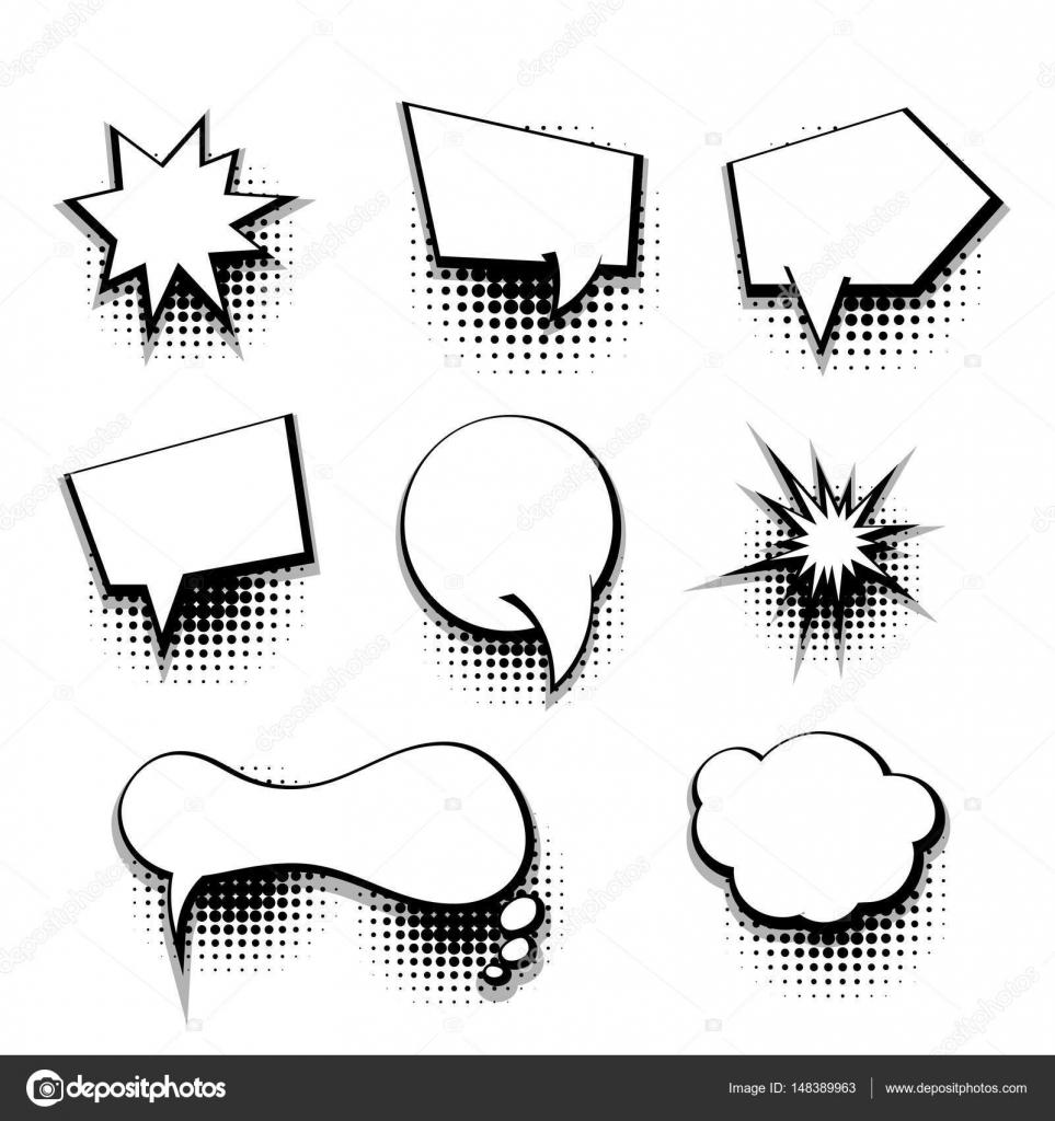 Collection comic text blank template speech bubble — Stock Vector ...