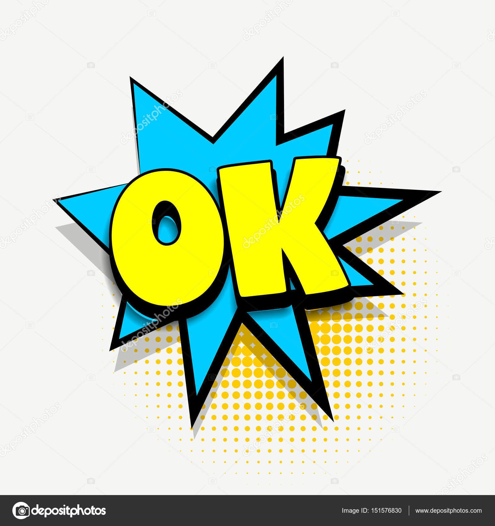 Cómic texto burbuja ok plantilla — Vector de stock © helen.tosh ...