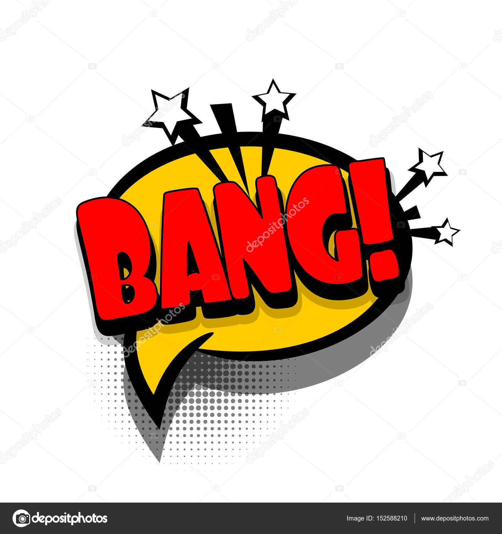 Lettering BANG Boom Gun Comics Book Text Balloon Bubble Icon Speech Phrase Cartoon Font Label Offer Tag Expression Sounds Vector Effect Halftone