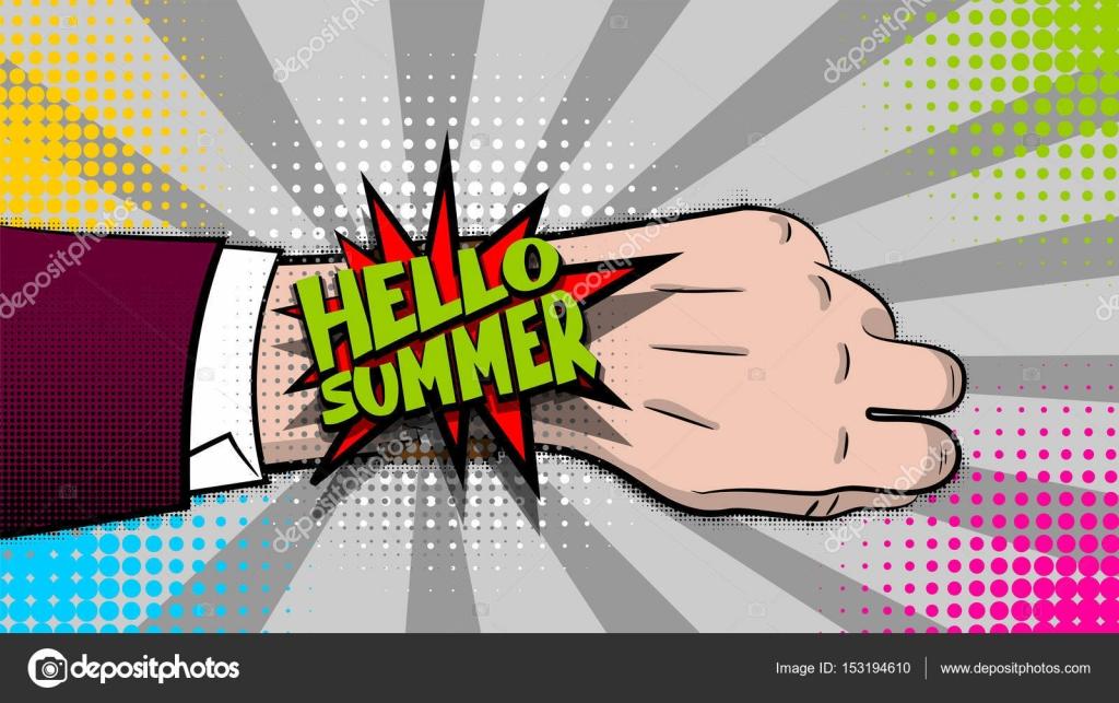 Bonjour L été Main Montre Texte Comique Pop Art Image