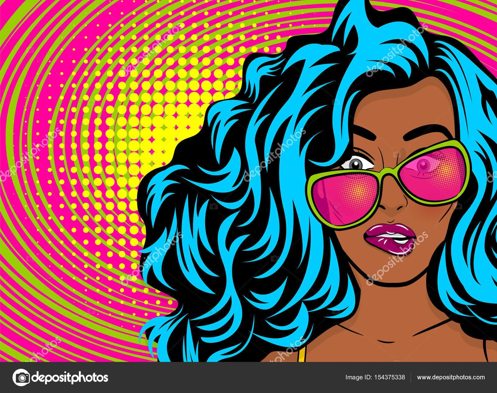 13991c1d4 Jovem negro Opa muamba de wow mulher pop art estilo enfrentam na sensação  de satisfação de óculos de sol. Quadrinhos texto de meio-tom colorido retrô  ponto ...