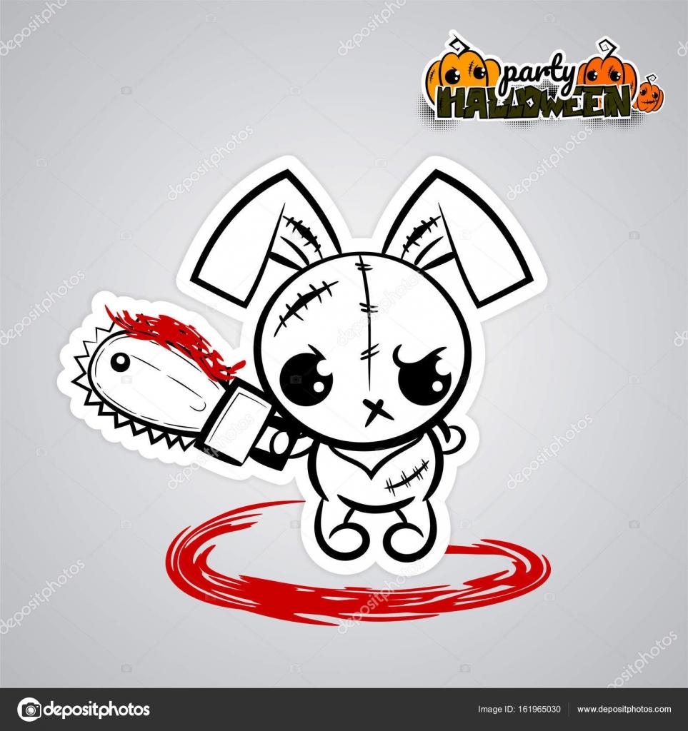 Halloween bösen Hasen Voodoopuppe Pop-Art comic — Stockvektor ...
