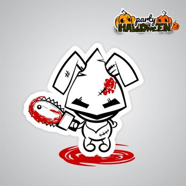Halloween evil bunny voodoo doll pop art comic