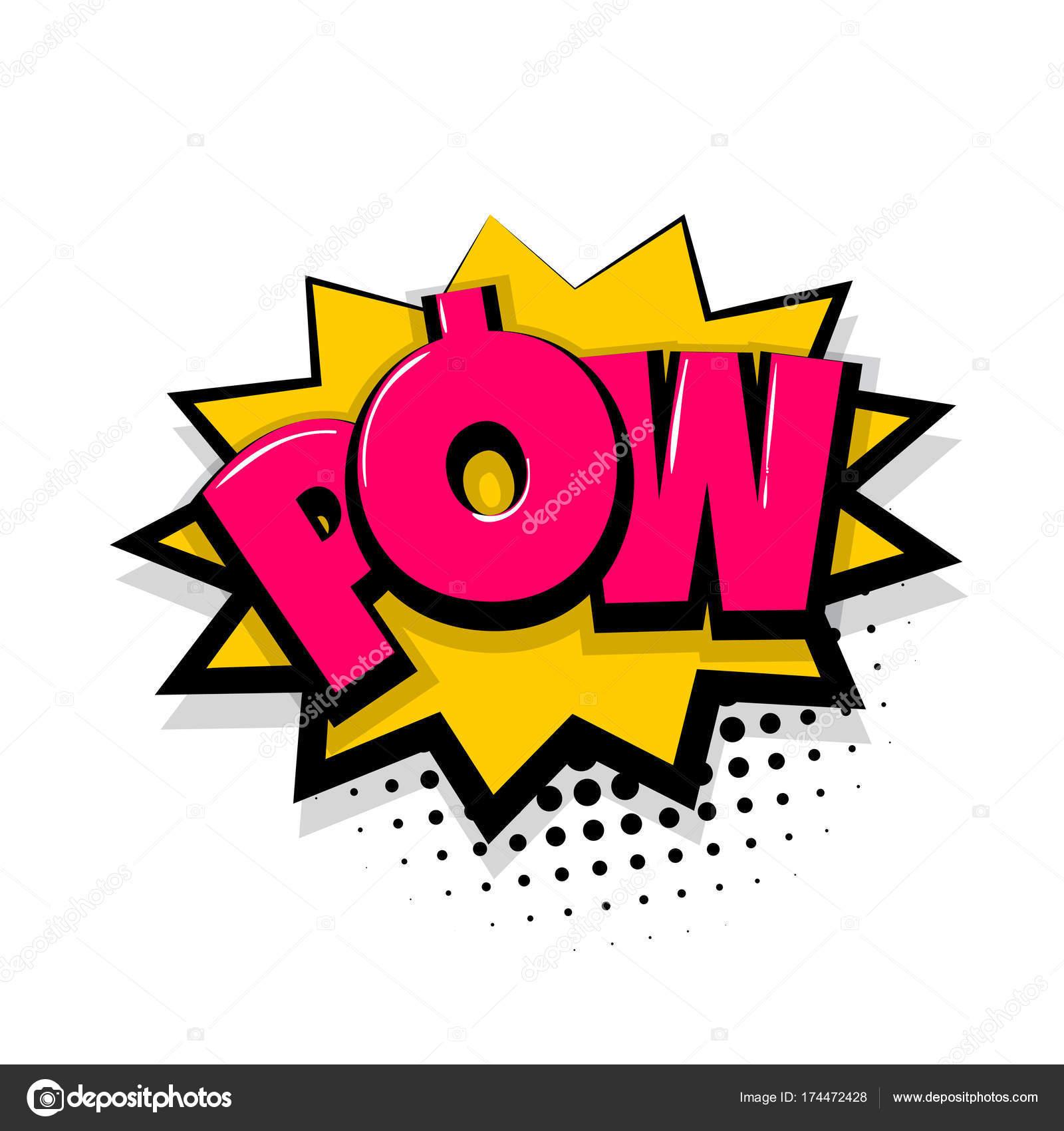 Pow comic text white background — Stock Vector © helen tosh