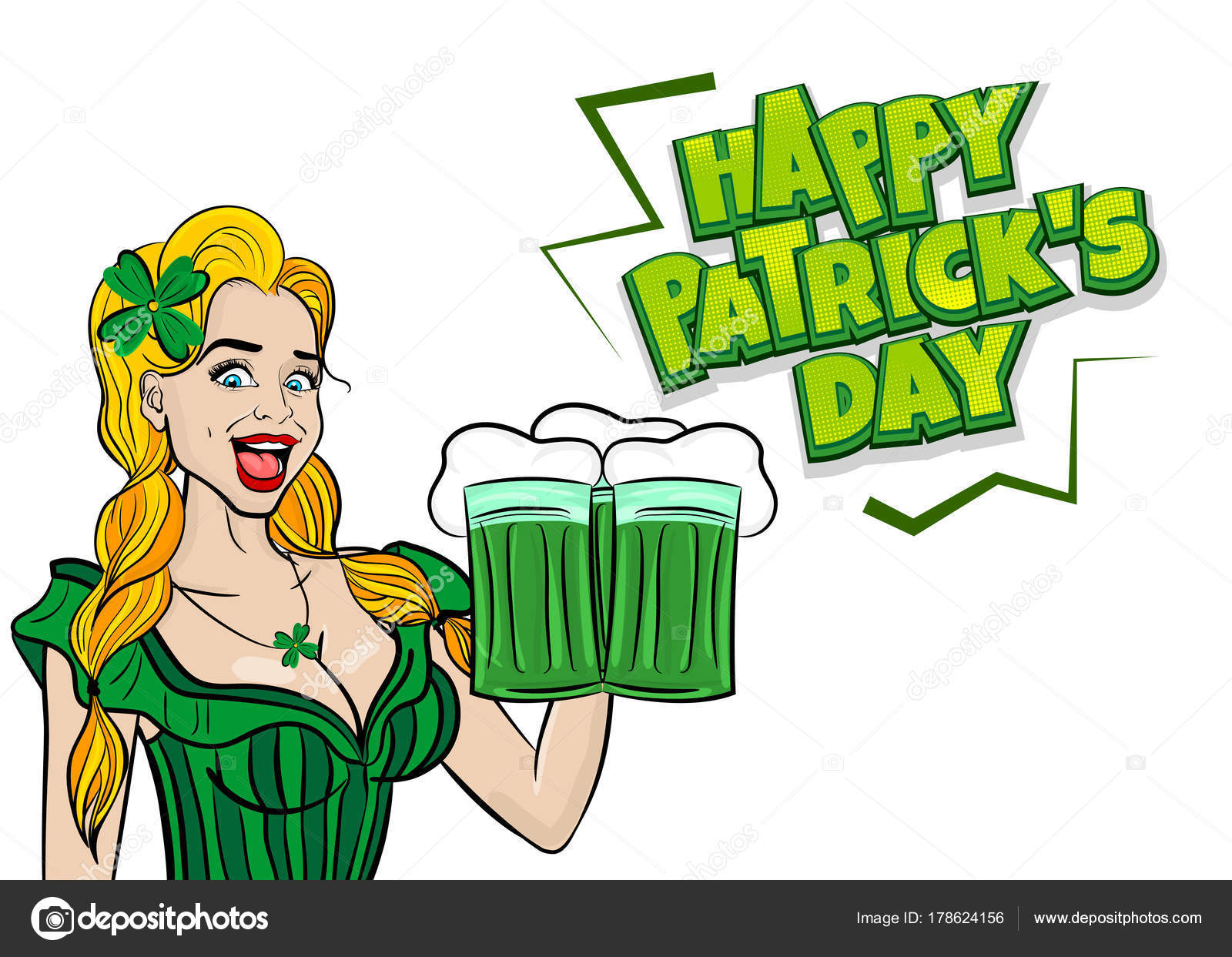 Funny Blonde Pop Art Woman St Patrick Day Stock Vector Helen