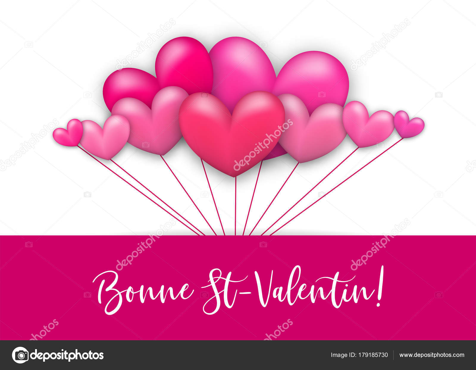 Happy valentines day heart greeting card stock vector helensh happy valentines day bonne st valentin french language realistic 3d heart romantic isolated white vector illustration background st valentine greeting m4hsunfo Images