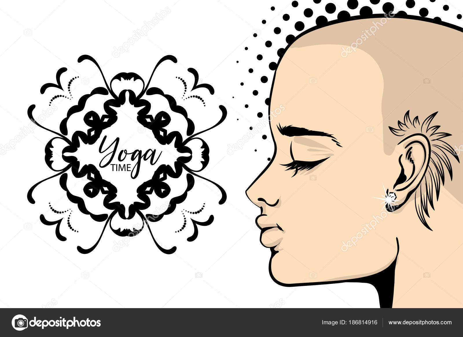 Tatouage Bold Femme Yoga Banniere Pop Art Image Vectorielle
