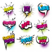Set hand drawn effects comic speech bubbles