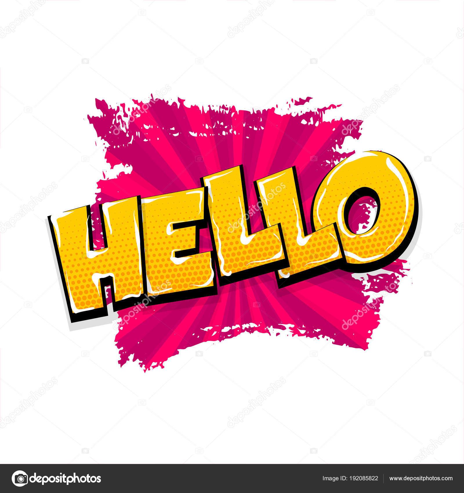 Brosse De Grunge Texte Comique Pop Art Bonjour Salut Hé