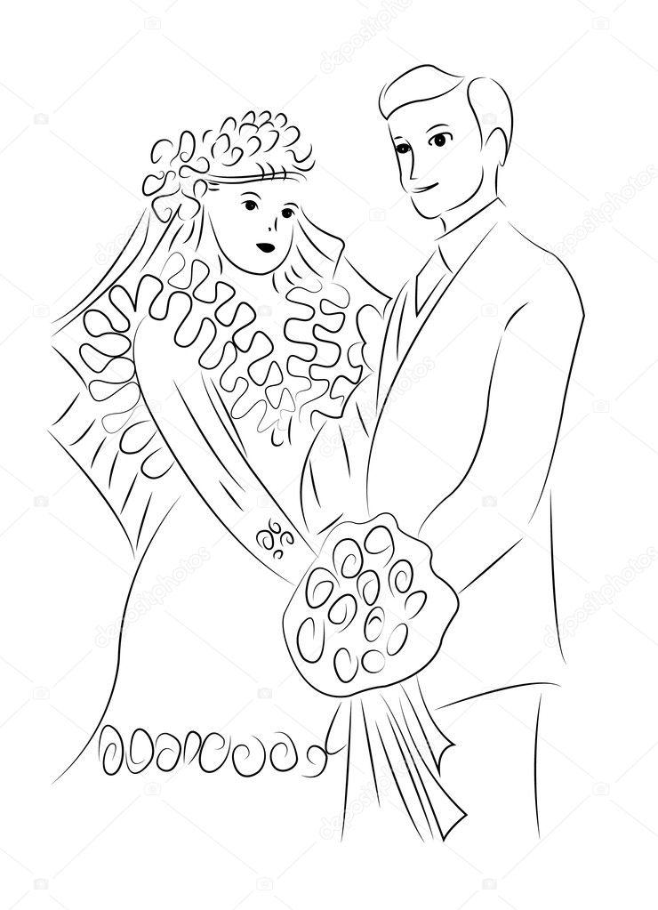 tekening getrouwd getrouwd paar tekening vector — Stockvector © Dr.Art #126174526 tekening getrouwd