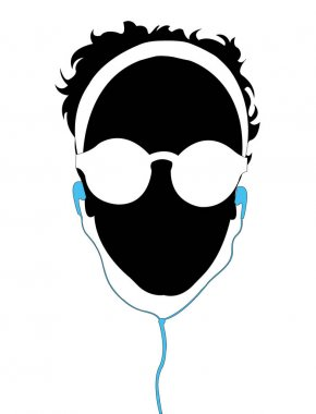 A girl listening music, silhouette vector