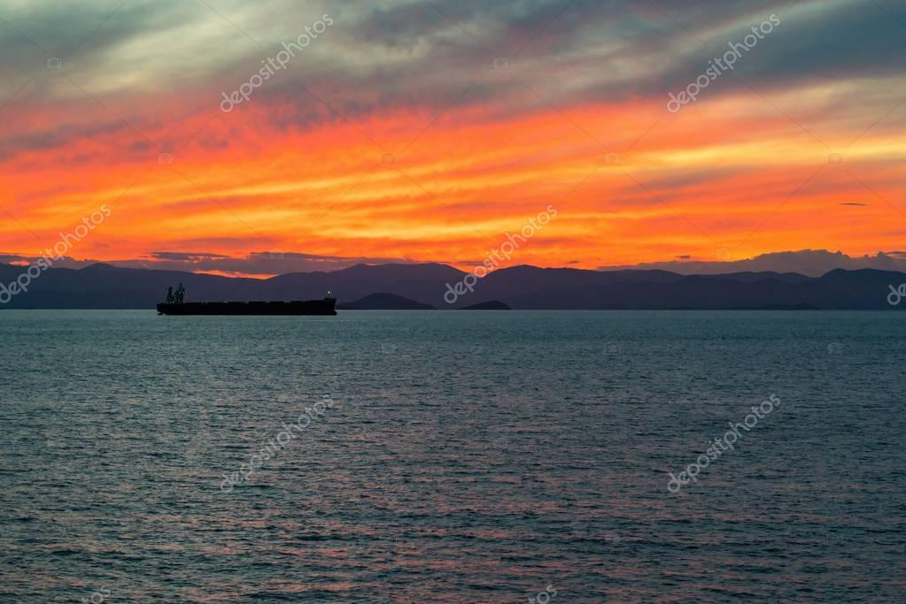 evening sea landscape on a sunset