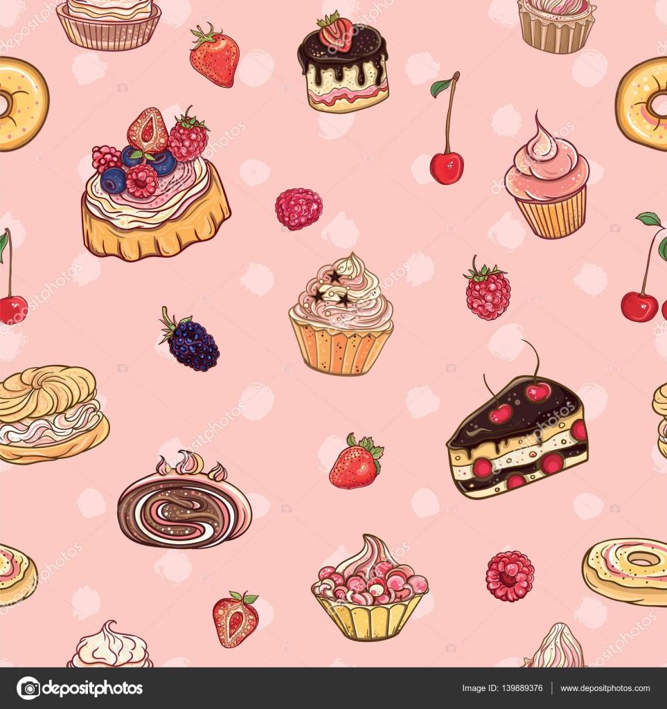 Patrón transparente de vector con tortas, pasteles — Vector de stock ...