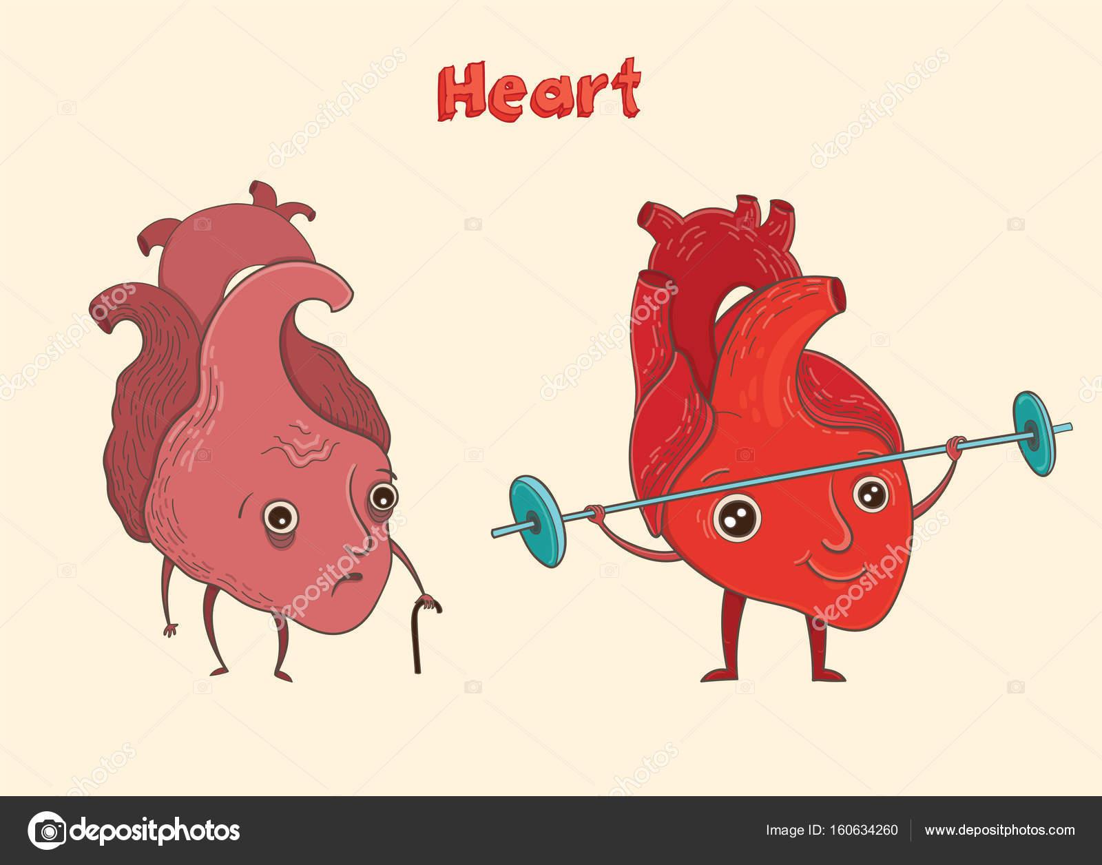 Personaje de dibujos animados corazón humano — Archivo Imágenes ...