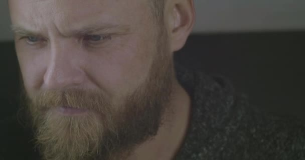 Close Up Portrait Of A Bearded Hipster With A Red Beard And Mustache. A Man With A Beard With A Concentrated Look. A Respectable Man With A Beard And Mustache. Cinema 4K Video