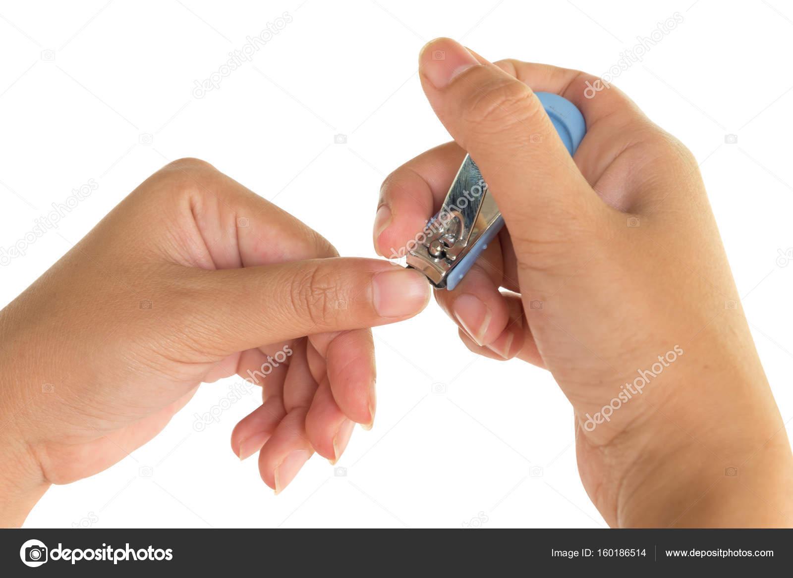 Den Händen der Frauen, die die Nägel schneiden — Stockfoto ...