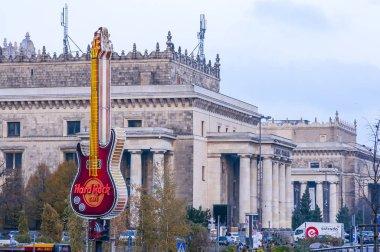 Hard Rock Cafe in Warsaw. Giant guitar logo