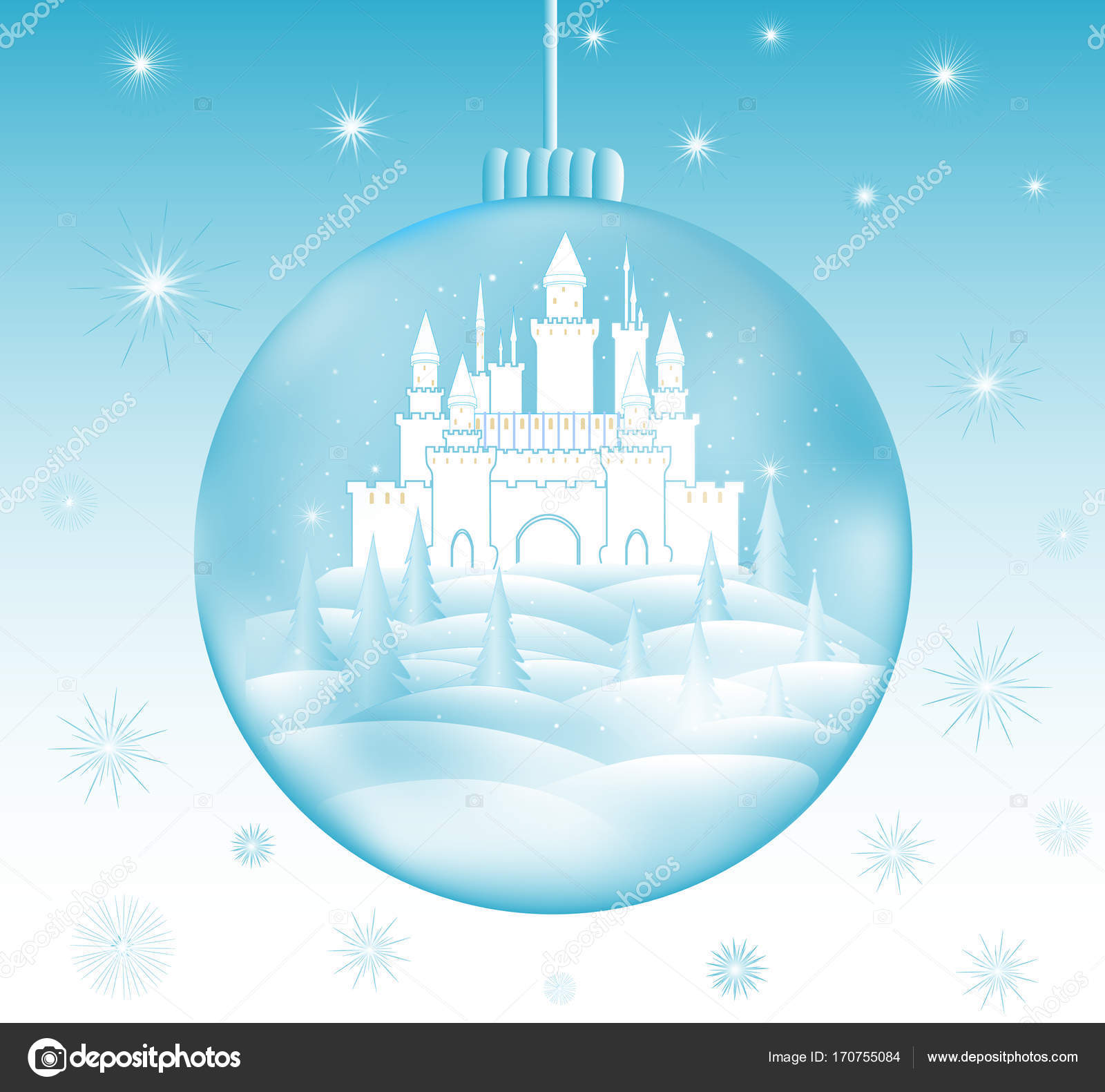 happy new year and merry christmas vector illustration with beautiful frozen castle in a snowball and