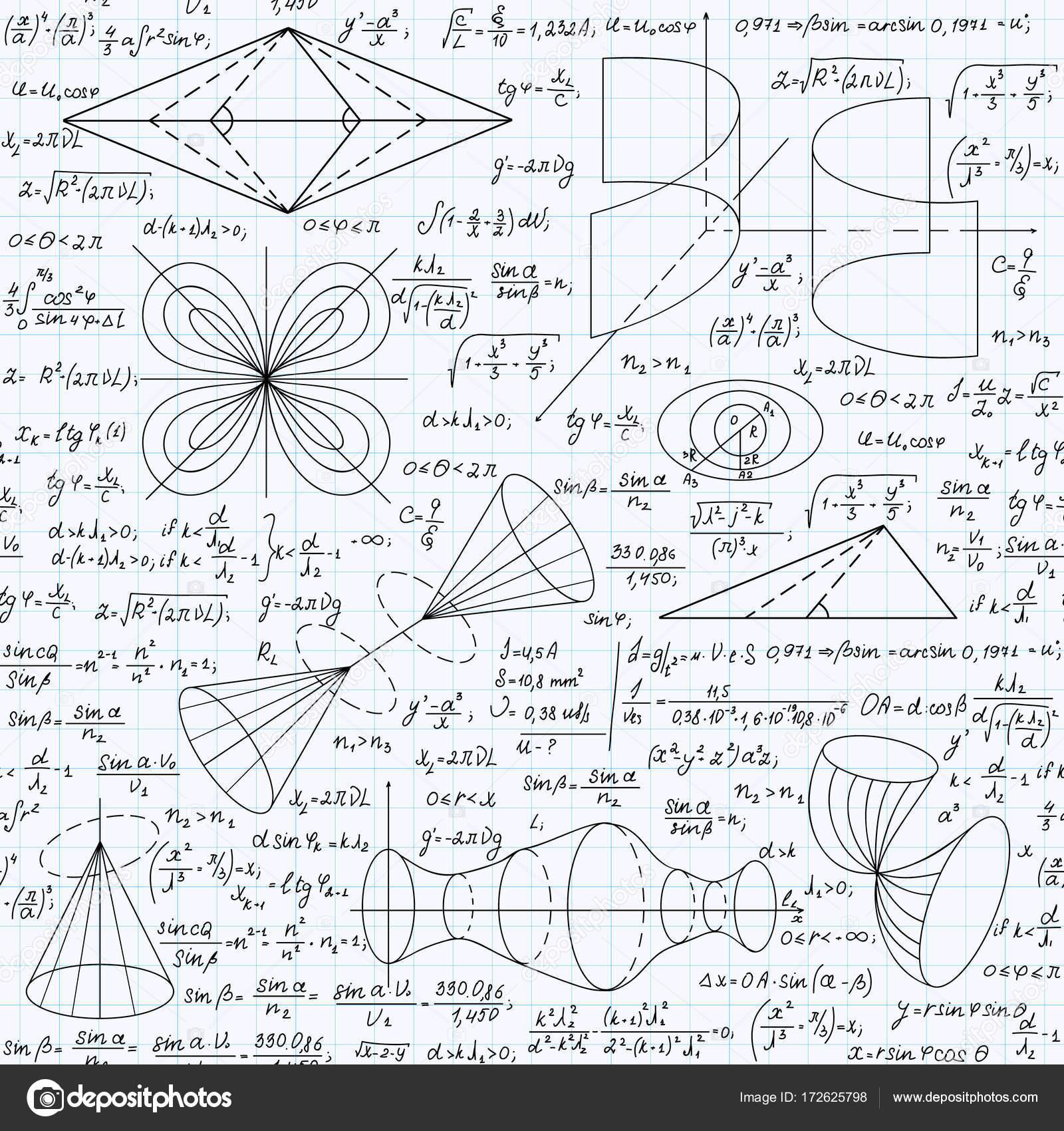 Matemáticas educativas vector de patrones sin fisuras con fórmulas ...