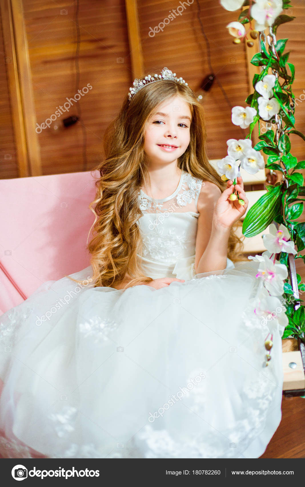Beautiful Little Girl Dressed Summer White Dress Long Curly