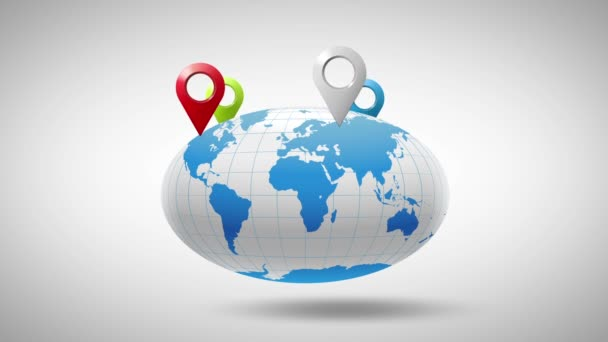globe around which multicolored markers geolocation