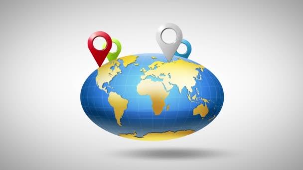 zeměkoule kolem které vícebarevné značky geolocation
