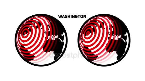 Rotující svět s rozdílným a sbíhající kruhy z hlavního města USA Washingtonu
