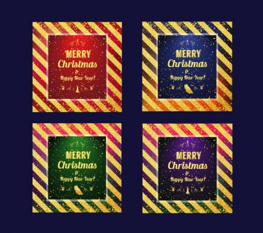 Set of Marry Christmas cards