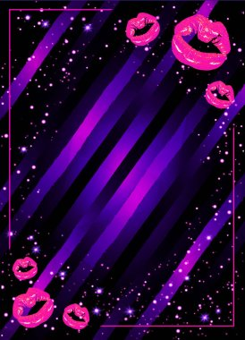 strips with shining pink lips