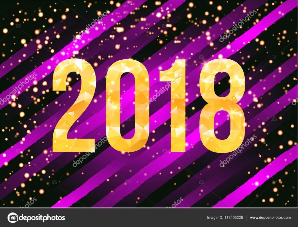 Vektor 2018 Happy New Year-Karte. Goldene Zahlen mit Konfetti auf ...