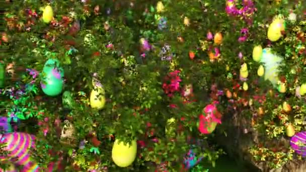 Happy Easter. Flowers blossoms and painted eggs. Animation. Close up. Isolated.