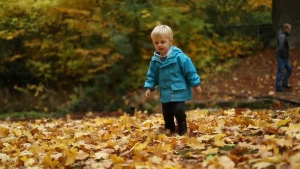 děti si hrají v podzimní listí