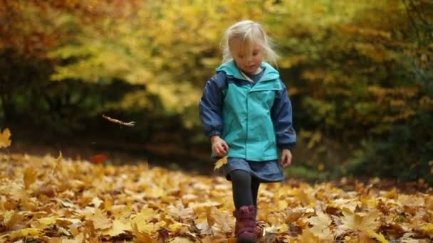 Childhood Moments: Girl Playing With Fallen Autumn Leaves