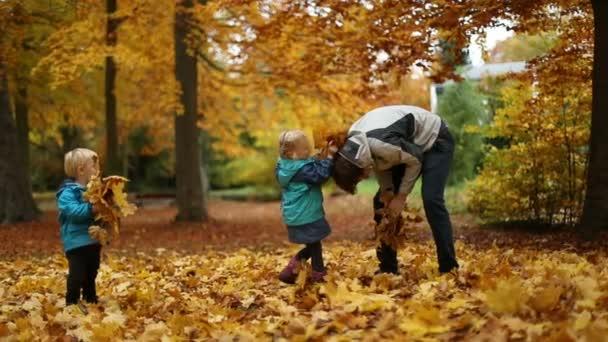 A gyermekkori pillanatok: Gyermek és tinédzser játszik az őszi levelek, a Park
