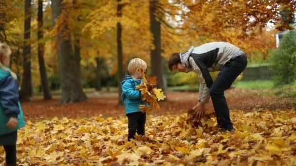 A gyermekkori pillanatok: Gyermek és tinédzser játszik az őszi levelek, a Park 3