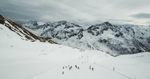 Stunning Snowy Ski Slope and Alps Aerial Scenery at Passo del Tonale