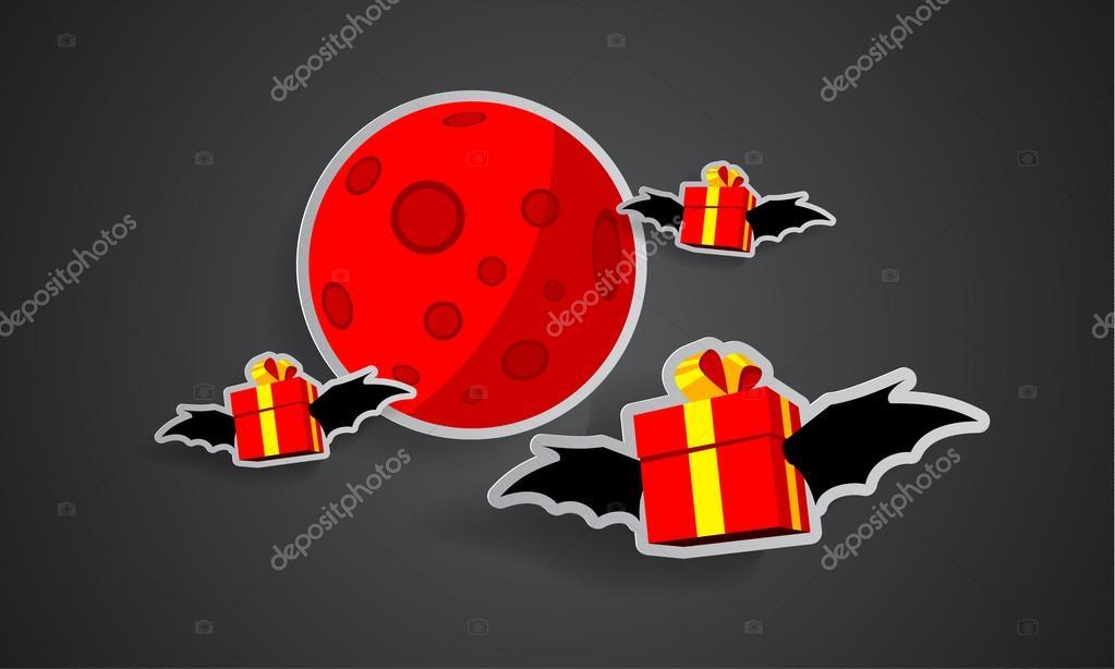 コウモリの翼と黒い背景の赤い月ステッカー プレゼント 幸せな