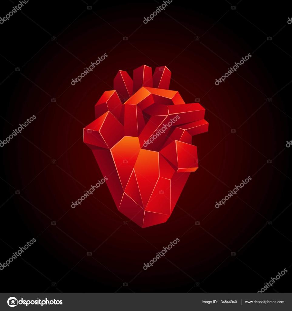 Rote low-Poly menschlichen Herzen auf schwarzem Hintergrund ...