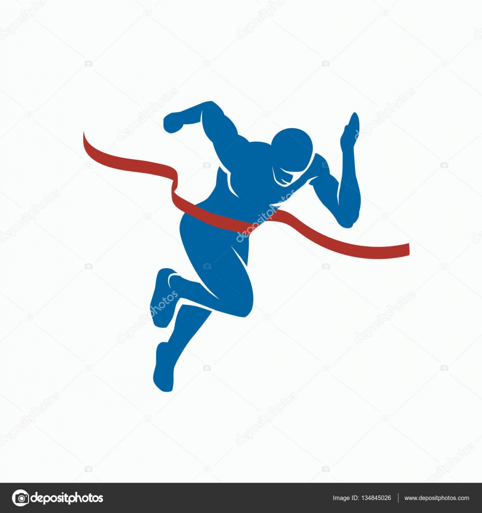 Sports Vector Silhouette Of The Winner On A White Background