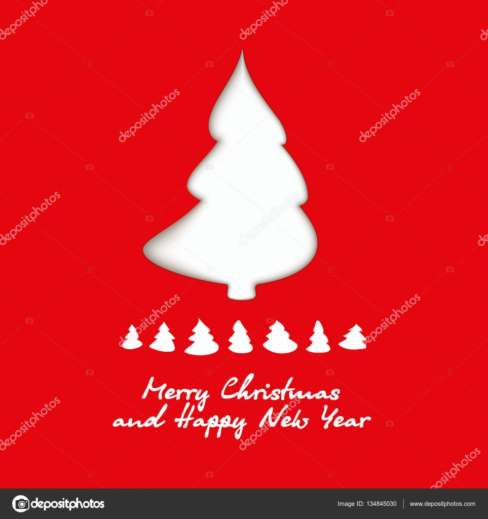 white christmas tree on red background origami paper cut silhouette