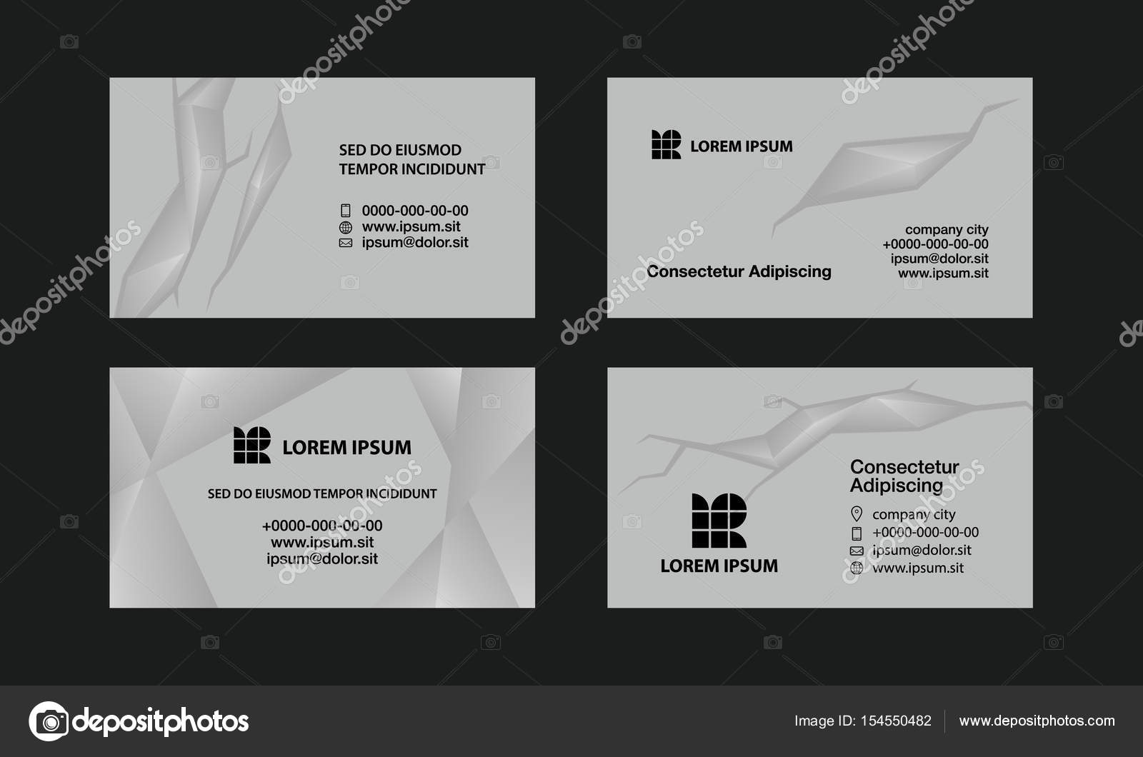 gray business cards set abstract polygonal style background for