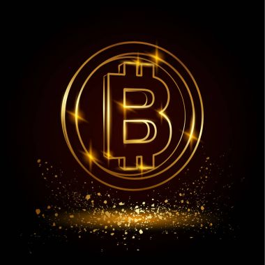 Gold bitcoin symbol. Electronic money vector illustration on a black background.