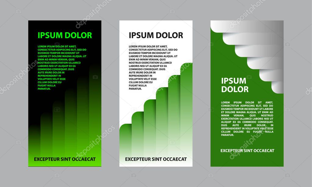 Green abstract business template for flyer, brochure, presentation. A set of financial templates for a banner.