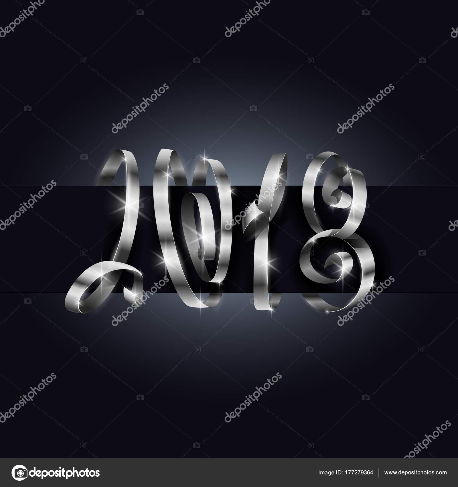 vector 2018 new year background 2018 lettering typography using silver gift ribbon or serpentine curls