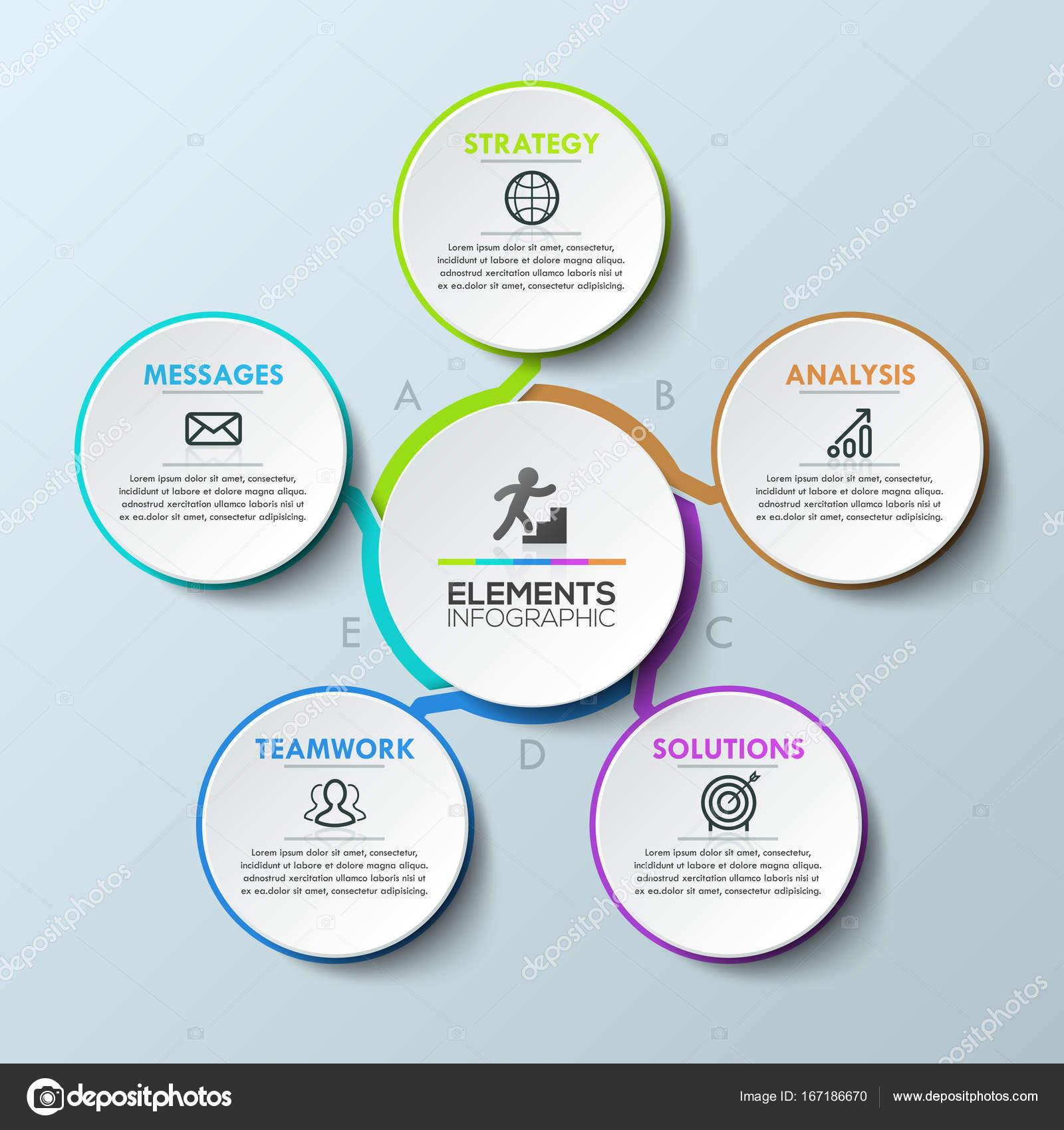 Modernen Infografik Entwurfsvorlage, kreisförmige Darstellung mit 5 ...