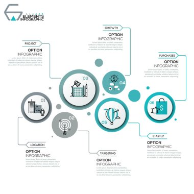 Modern infographic design layout, 6 round elements with pictograms