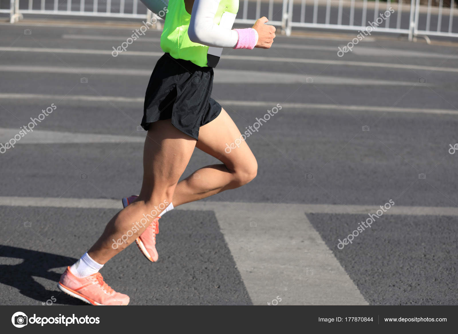 Legs Marathon Runner Running City Road Stock Photo