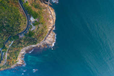 aerial view from drone of beautiful rocky coastline