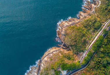 aerial view from drone of coastline